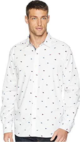 Long Sleeve Waving Flag Print Woven Shirt