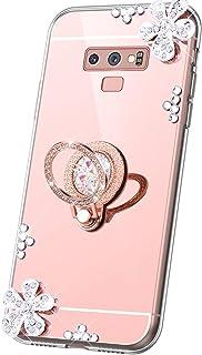 JAWSEU Fodral spegel kompatibel med Samsung Galaxy Note 9, 3D bling glitter glittrande glänsande diamantblommor design sma...