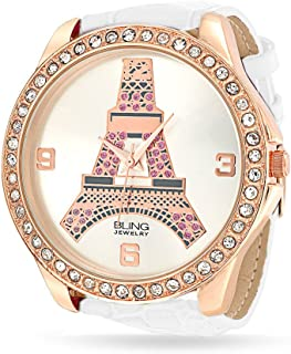 Large Round White Dial Crystal Bezel Rose Gold Plated Eiffel Tower Paris Watch for Teen for Women White Leather Band