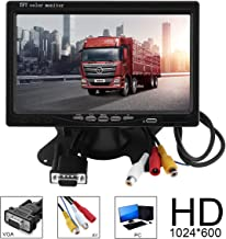 7 Inch High Resolution Rotating Color TFT LCD Display Monitor Multifunction Bright VGA Interface with Remote Control and Mounting Bracke
