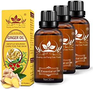 3 Pack Ginger Oil for Lymphatic Drainage,2020 100% Pure Essential Oil, Natural Body Massage Ginger Oil for Skin and Relieve Muscle Soreness,SPA Massage Oils-30ml