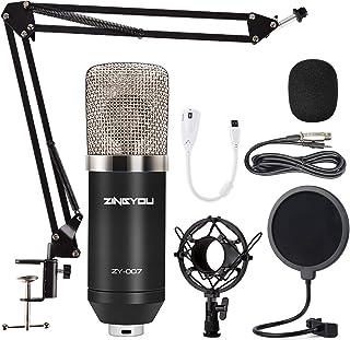 میکروفون خازنی ZINGYOU ZY-007 Professional Cardioid Mic Bundle for PC / Laptop Recording Studio YouTube Podcast Vocal Broadcasting Gaming with Scissor Arm Stand Shock Mount and Filter Pop (Silver)