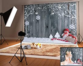 Kingsky 7x5ft(2.2x1.5m) White Winter Photography Backdrops No Wrinkles Cotton Wood Wall Snow Man Photo Booth Backgrounds for Christmas