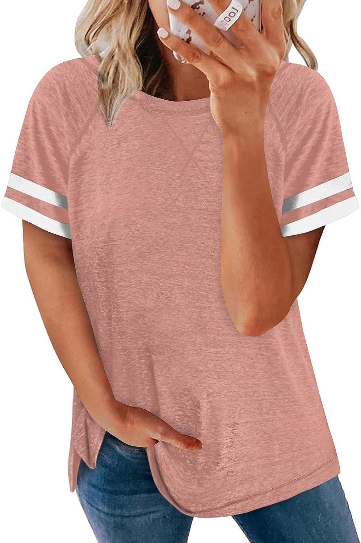 Ecrocoo Women Summer Crewneck Casual Blouses Short Sleeve Stripes Color Block Tunic Tops