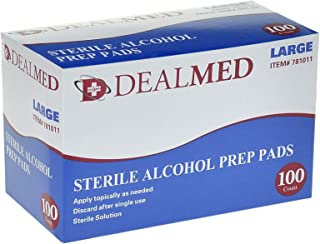 Dealmed Sterile Alcohol Prep Pads, Antiseptic Latex-Free Wipes, Gamma Sterilized, Large, 100 Count