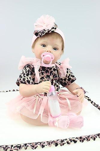 QXMEI Reborn Baby Doll mädchen Echt Aussehende Silikon 55cm