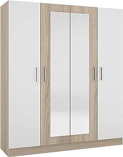 MG Armoire LESI Sonoma/blanc | Matériau : corps et façade en panneau de fibres de haute qualité avec surface revêtue | Ins...