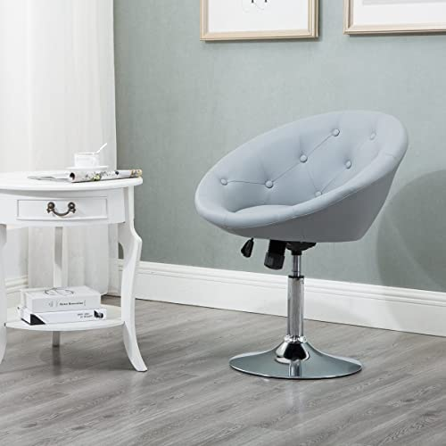 Round Tufted Swivel Chair, Luxury Leather Contemporary Back Adjustable Tilt  Lounge Chair, Grey