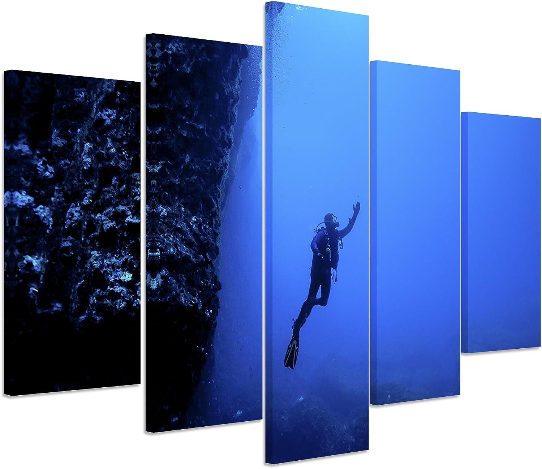 Bilderskulptur 5 teilig teilig teilig Breite 150cm x Höhe 100cm Naturfotografie – Taucher unter Wasser, Malta auf Leinwand exklusives Wandbild moderne Fotografie für ihre Wand in vielen Größen B06XKH9PBT 321514