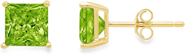 Clara Pucci 4.0 ct Brilliant Princess Cut Solitaire VVS1 Fine Natural Green Peridot Gemstone Pair of Stud Earrings Solid 18K Yellow Gold Push Back