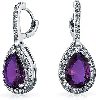 5CT Pave Halo Cubic Zirconia AAA CZ Pear Shape Teardrop Drop Huggie Earrings For Women Silver Plated Brass More Colors