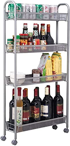 Voroly 4 Tire Rolling Cart Metal Utility Space Saving Slim Kitchen Rack For Home Living Room Storage Organizer Racks And Self With Wheel Silver