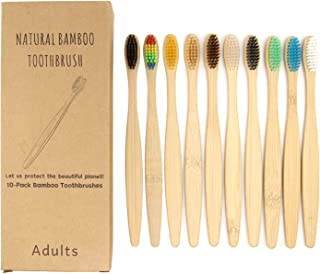 10 Pack Bamboo Toothbrushes, BetterJonny Natural Bamboo Toothbrush Eco-Friendly Organic Biodegradable Bamboo Handle and BPA Free Soft Bristles For Sensitive Gums