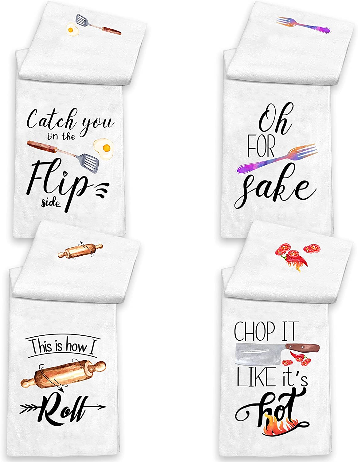 KamaLove Funny Kitchen Towels and Dishcloths Sets of 4 - Dish Towels with Sayings - House Warming Presents for New Home, Gifts for Women, Farmhouse Kitchen Decor, Colourful