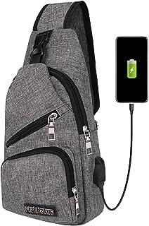 SKYSPER Sac de Poitrine Sacoche Bandoulière Homme et Femme avec Port de Chargement USB Sac Porté Épaule Léger Étanche Slin...