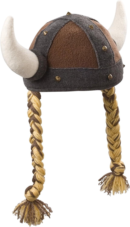Beasty Buddies Viking Girl Hat Fleece  Helmet  Beanie Small Brown