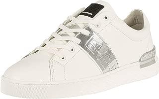 ED HARDY Men's Stripe Low Top Metallic Leather Trainers, White