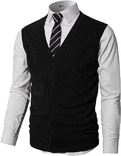 Mens Casual Slim Fit V-Neck Knit Sweater Vest Lightweight Thermal