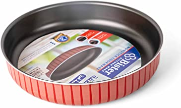 Bister STRIPY Round Baking Oven Tray (26cm) | Made of High-Quality | Nonstick with Flat Bottom Suitable for Oven | Black &...