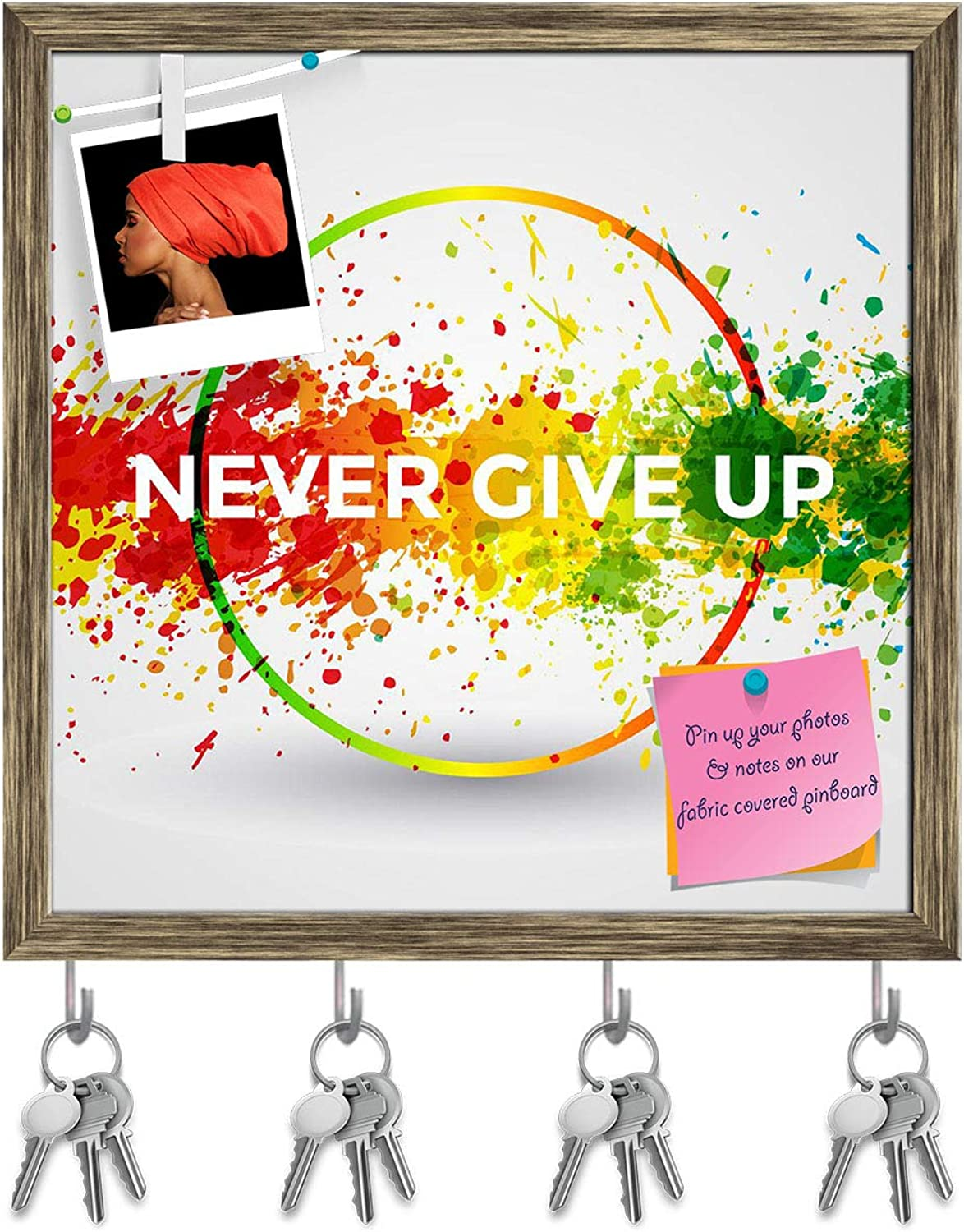 Artzfolio Never Give Up D2 Key Holder Hooks   Notice Pin Board   Antique golden Frame 20 X 20Inch