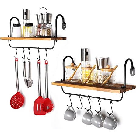Glorieux Art Kitchen Wall Shelves for Home decoration with 10 Adjustable Hooks for Hanging Mugs Spoons Cooking Utensils Towel Wall Mounted Storage Shelves & space saving kitchen organizer (Set of 2) (Carbonized Black)