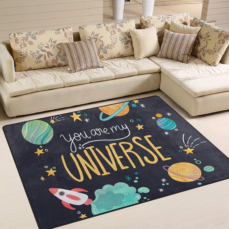 Cartoon Rocket Spaceship Planet Area Rugs 80 x 58 Inch Door Mats Indoor Polyester Non Slip Multi Rectangle Doormat Kitchen Floor Runner Decoration Home Bedroom Living Dining Room