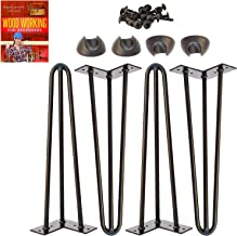 "Omoi Hardware 16"" Hairpin Legs, 3 Rods, 1/2"" Thick, Heavy Duty, Black, Set of 4.."