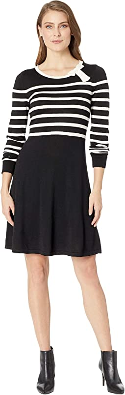 Long Sleeve Jersey Striped Sweater Dress w/ Bow