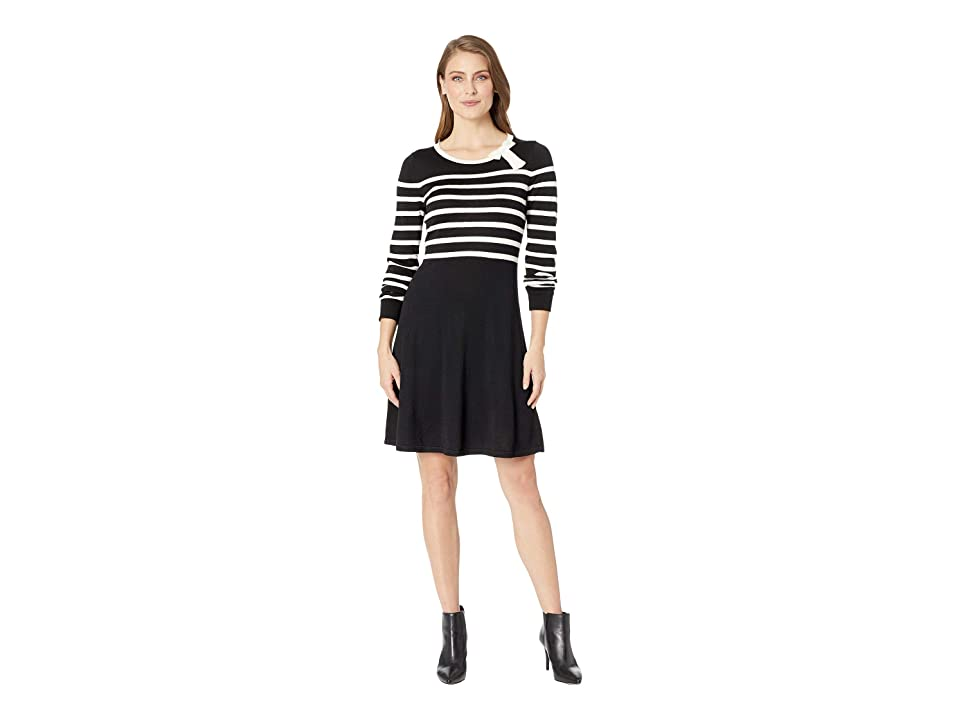 CeCe Long Sleeve Jersey Striped Sweater Dress w/ Bow (Rich Black) Women