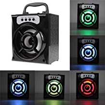 Dikley MS-132BT Bluetooth Wireless Speaker Heavy Bass LED lamp FM Broadcasting with USB Charging Port TF Card Slot AUX Inputs Volume & Track Control (Black)