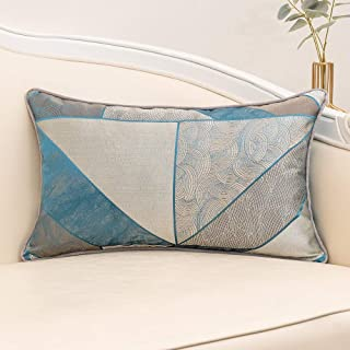 Yangest 12 x 20 Inch Satin Textured Rectangle Cushion Cover Luxury Modern Rustic Lumbar Throw Pillow Cover Decorative Pillowcase for Couch Sofa Living Room Bedroom Car,Blue