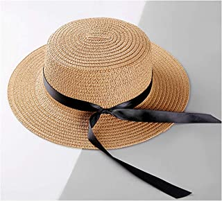 Surprise S Flat Bow Straw Hat Girls Summer Sun Hats for Women Beach Boater Hat Chapeau Femme Sun Fedora