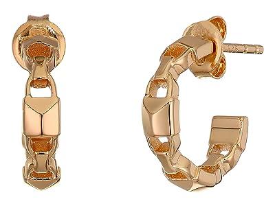 Michael Kors Precious Metal-Plated Sterling Silver Mercer Link Mini Hoops Earrings (Rose Gold) Earring