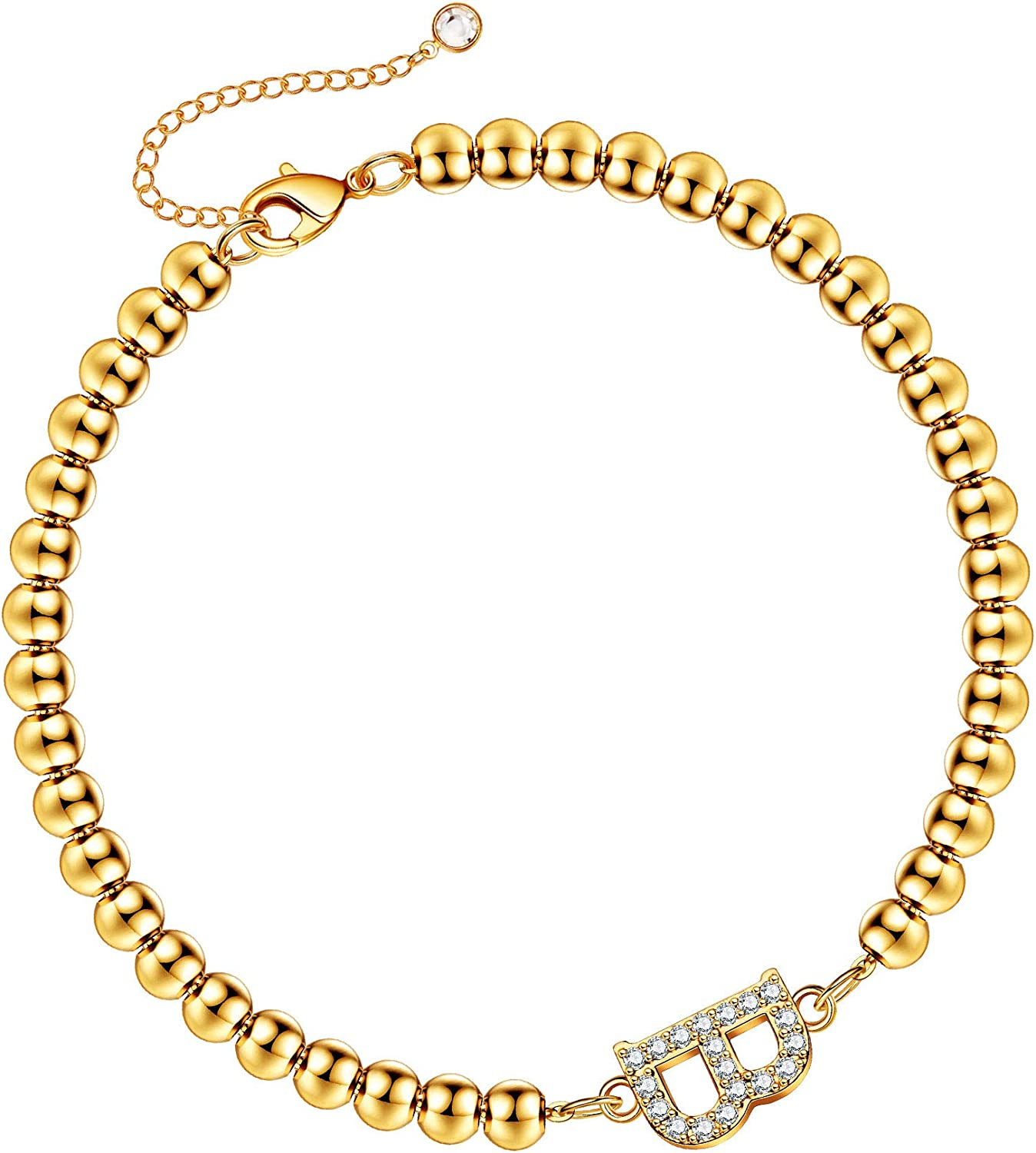 Hidepoo Gold Initial Bracelets for Women Girls, 14K Gold Plated Dainty Cubic Zirconia Bead Initial Bracelets Personalized Letter Beaded Initial Gold Bracelets for Women Girls Jewelry Gifts