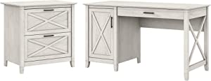 Bush Furniture Key West Computer Desk with Storage and 2 Drawer Lateral File Cabinet, 54W, Linen White Oak