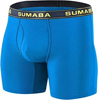 """SUMABA Mens 6"""" Sport Performance Boxer Brief Big and Tall Bamboo No Ride up Underwear Long Leg Multi-Pack"""