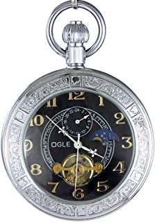 Ogle Waterproof Luminous Magnifier Tourbillon Moon Sun Chain Fob Self Wind Automatic Mechanical Pocket Watch