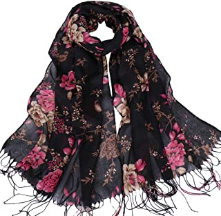 NJGV Women Long Wrap Scarf Tassel Shawl Flower Lace Artificial cotton printed fringed ladies scarf series shawl fashion Mu...