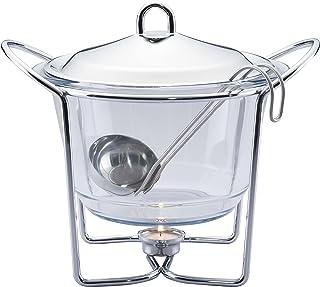 وعاء زجاجي لتدفئة الحساء مع مغرفة من شيف انوكس، 4 لتر - K610