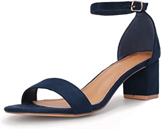 SHOWHOW Women's Chunky Low Heeled Sandals Block Ankle Strap Open Toe Heels for Dress Wedding Party