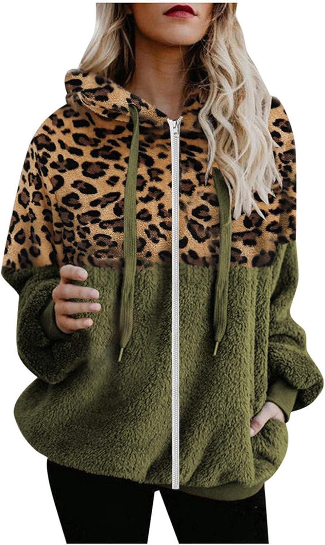 Lovor Women's Drawstring Hoodie Fuzzy Fleece Sweatshirt Zipper Sherpa Teddy Coat Leopard Outwear Hooded Pullover with Pockets