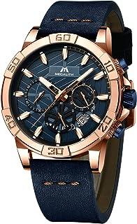 MEGALITH Relojes Hombre Militar Cronografo Cuero Luminosos Impermeable Diseño Relojes de Pulsera Deportivos Analogicos Fecha