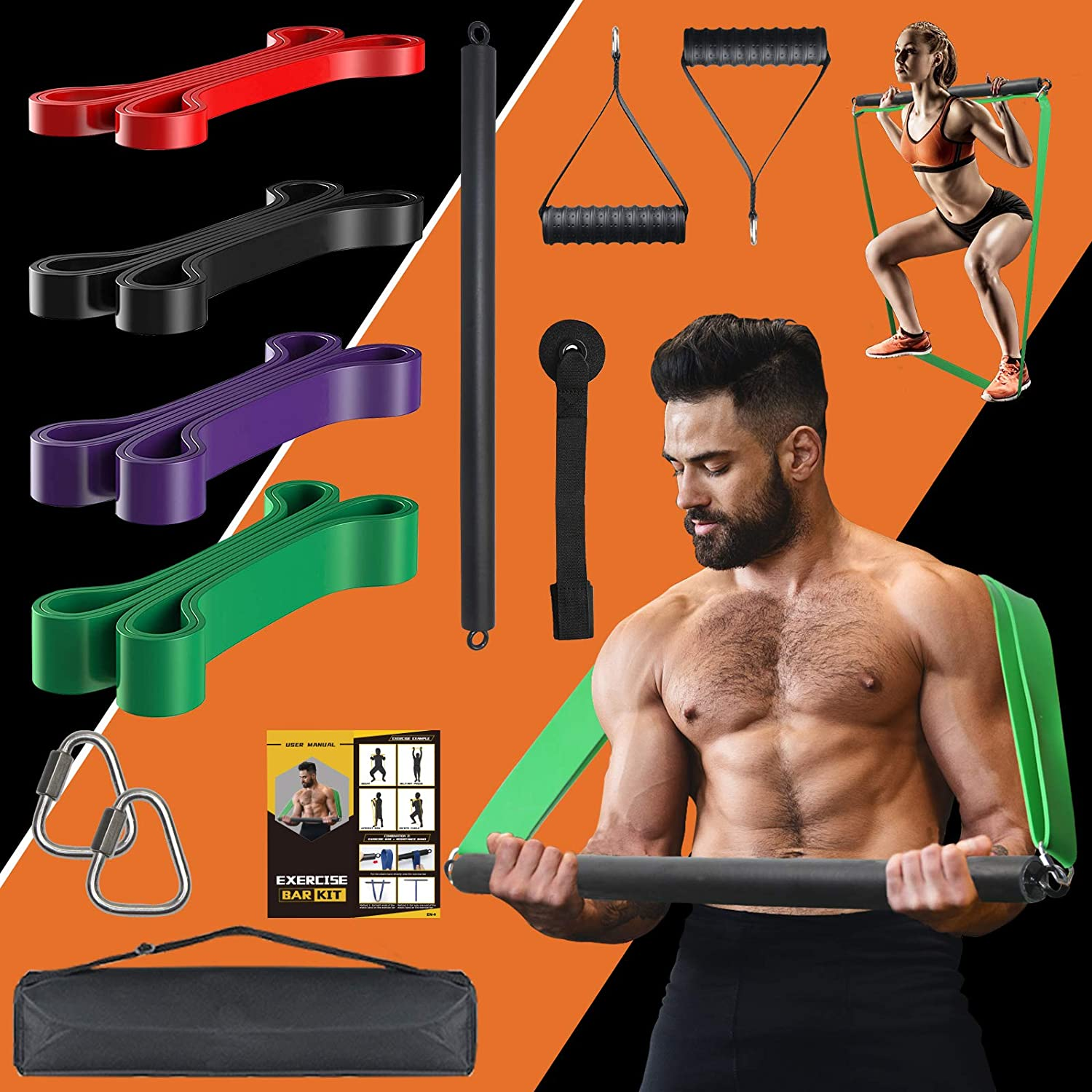 KIKIGOAL 300LBS Portable Resistance Bar 4 with Max Inexpensive 44% OFF Levels