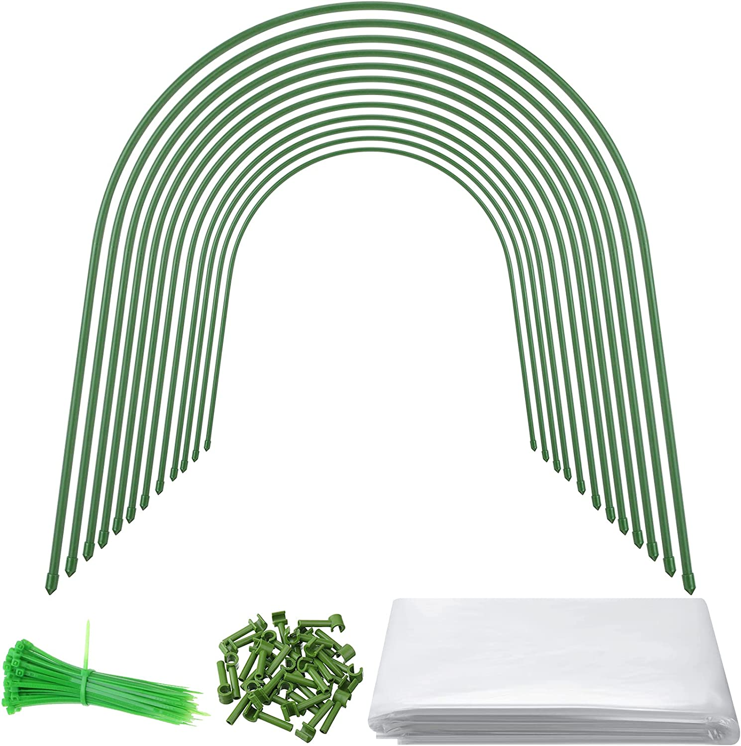 12 Pieces Greenhouse Hoops 4 Feet Grow Tunnel Garden Hoops for Raised Bed Row Cover Hoops with 52.5 x 6 Feet Greenhouse Plastic Greenhouse Film Cover for Garden Fabric Plant Support Protection