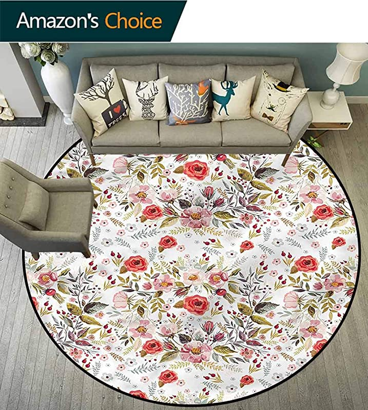 RUGSMAT Flower Round Area Rug Ultra Comfy Thick Romantic Flowers Leaves Door Mat Indoors Bathroom Mats Non Slip Diameter 71