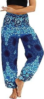 AviviRuth Women's Rayon Print Smocked Waist Harem Pants Boho Yoga Hippie Pants
