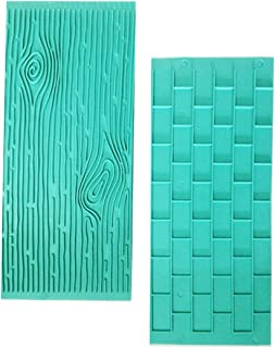 Gobaker Texture 2-Piece Mold Set Tree Bark and Brick Wall Impression Moulds Gum Paste Impression Mat Fondant Cake Decorating Gobaker Supplies for Cupcake Wedding Cake Decoration(Blue)