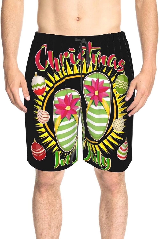 Men's Swim Trunks Christmas in July Summer Flip Flops Swim Short Boardshort Drawstring Swimwear Beach Shorts