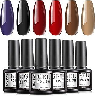 TOMICCA Gel Nail Polish Set, Red Brown Black, 6 Dark Color Gel Polish Kit, Soak Off Gel Polish Starter Kit, UV LED Gel Man...