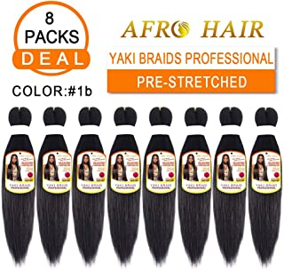 Afro Yaki Braid Pre Stretched Braid Hair Extension Professional Braid Hair Crochet Hair Ombre 8 Packs Synthetic Hair Yaki Texture (18